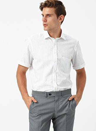 M Beyaz - Gri Beymen Business Gömlek 5002396447002 Erkek Giyim