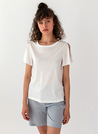 L Beyaz Melanj Hays Pijama Şort 5002396463002 Kadın İç Giyim