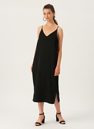 Vero Moda Askılı Siyah Uzun Elbise