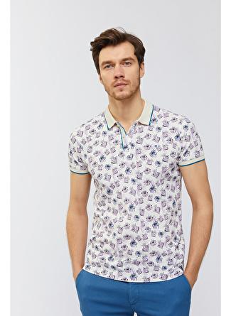 AVVA Desenli Polo Yaka Lila T-Shirt