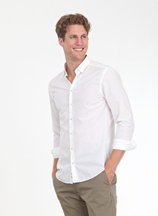 Kip Slim Fit Çizgili Açık Bej Gömlek