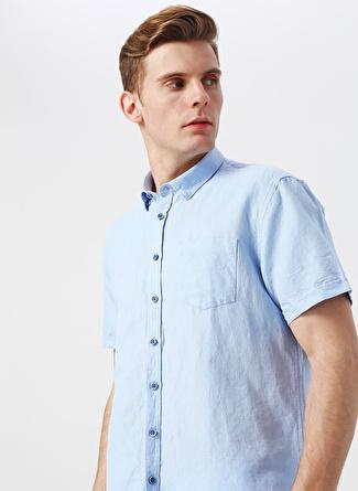 3XL Açık Mavi Pierre Cardin Cep Detaylı Kısa Kollu Gömlek 5002422433002 Erkek Giyim