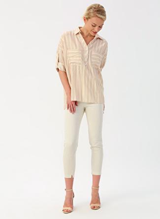 42 Natürel İpekyol Bej Beyaz Çizgili Pantolon 5002422453005 Kadın Giyim