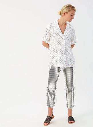 38 Koyu Beyaz İpekyol Siyah Çizgili Pantolon 5002422454002 Kadın Giyim