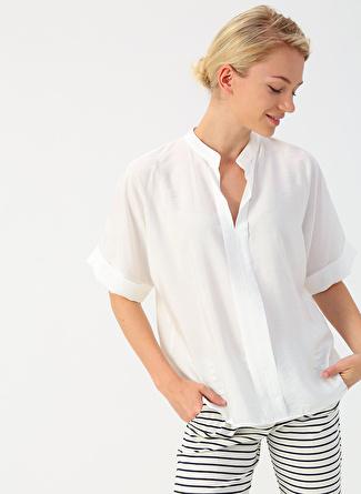 36 Koyu Beyaz İpekyol Kırık Bluz 5002422467002 Kadın Giyim Gömlek &
