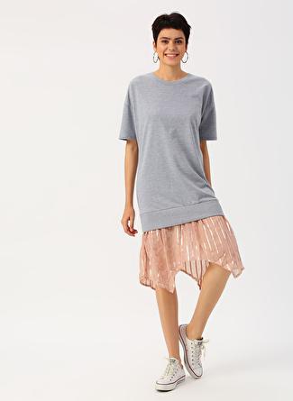 36 Gri Melanj Twist Eteği Tüllü Elbise 5002422497002 Kadın Giyim