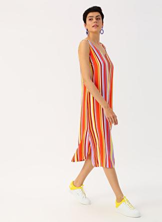 34 Kırmızı Twist Renkli Çizgili Uzun Elbise 5002422501001 Kadın Giyim