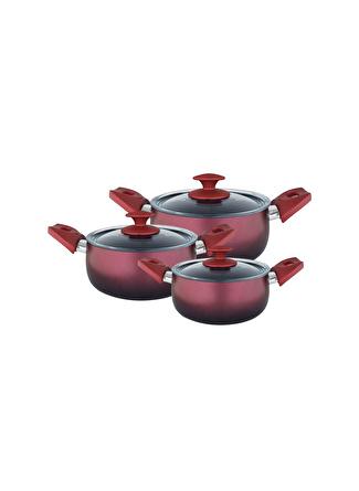 unisex Renksiz Aryıldız Nova Granit 6 Parça Kırmızı - Siyah Tencere Seti 5002422714001 Ev Mutfak & Sofra Ürünleri Pişirme