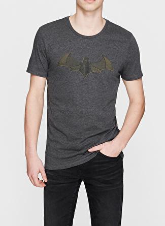 XL Antrasit Melanj Mavi Batman Baskılı Gri Tişört 5002422930005 Spor Erkek Giyim T-shirt