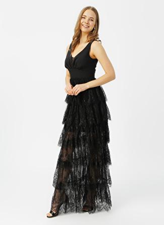 Selen Siyah Eteği Kat Kat Elbise
