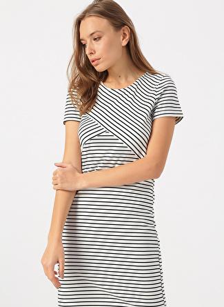 Vero Moda Beyaz Çizgili Elbise