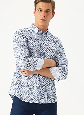 M Beyaz - Mavi Altınyıldız Classic Tailored Slim Fit Desenli Gömlek 5002438406002 Erkek Giyim