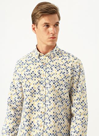 M Beyaz Altınyıldız Classic Sarı Mavi Desenli Slim Fit Gömlek 5002438416002 Erkek Giyim