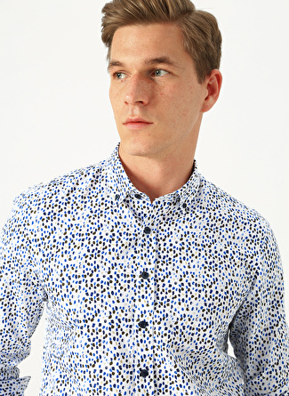 XL Beyaz - Mavi Altınyıldız Classic Baskılı Gömlek 5002438435004 Erkek Giyim