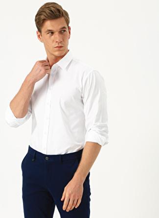 40 Beyaz Network Slim Fit Uzun Kollu Gömlek 5002440370002 Erkek Giyim
