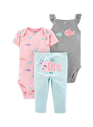 6 Ay Kadın Siyah - Gri Yeşil Carters Set 3lü 5002440561006 Çocuk Bebek Giyim