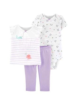 Ay Kadın Siyah - Gri Yeşil Carters Set 3lü 5002440563001 Çocuk Bebek Giyim
