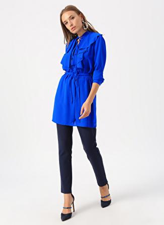 M Saks Mizalle Yaka Fırfırlı Bluz 5002440654002 Kadın Giyim Gömlek &