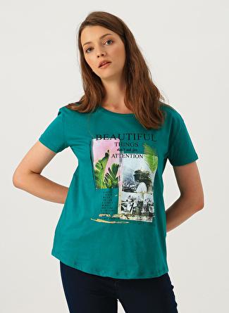 XS Yeşil Loft Baskılı T-Shirt 5002441088004 Kadın Giyim T-shirt & Atlet