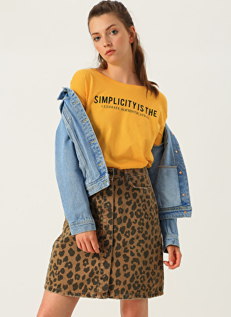 M Sarı Loft Yazılı T-Shirt 5002441089002 Kadın Giyim T-shirt & Atlet