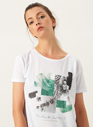 XS Beyaz Loft O Yaka Baskılı T-Shirt 5002441103004 Kadın Giyim T-shirt & Atlet
