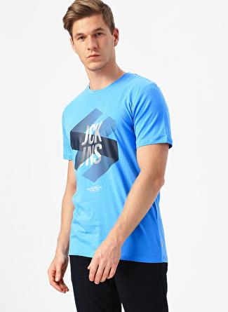 XL Mavi Jack & Jones Slim Fit Baskılı T-Shirt 5002441393005 Spor Erkek Giyim T-shirt