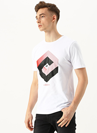 XL Koyu Beyaz Jack & Jones Baskılı T-Shirt 5002441406005 Spor Erkek Giyim T-shirt