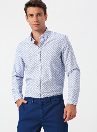 S Mavi Altınyıldız Classic Desenli Gömlek 5002441763003 Erkek Giyim