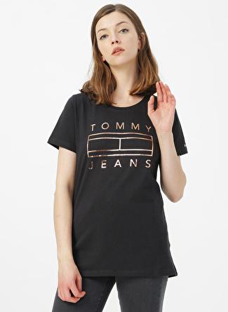 TOMMY JEANS Siyah Baskılı T-Shirt
