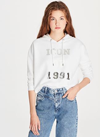 Mavi Icon Baskılı Beyaz Sweatshirt