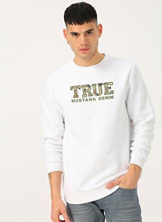 Mustang Kabartma True Baskılı Bisiklet Yaka Beyaz Sweatshirt