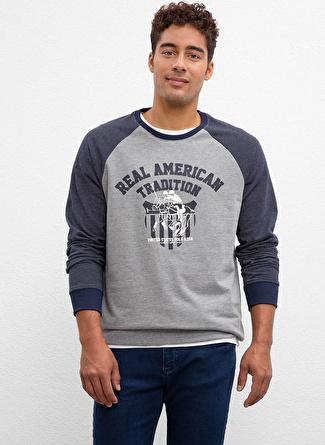 U.S Polo Assn. Bisiklet Yaka Gri Sweatshirt