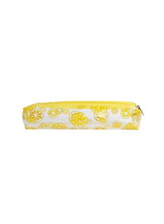 Bakras Limon Baskılı Sarı Makyaj Çantası