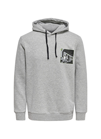 Only & Sons Gri Baskılı Sweatshirt