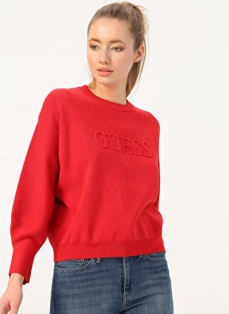 Guess Embossed Logo Rn Sweater Kazak