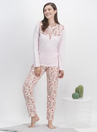 Arnetta Açık Pembe Baskılı Pijama Takımı