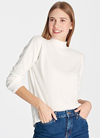Mavi Balıkçı Yaka Penye Kırık Beyaz Sweatshirt