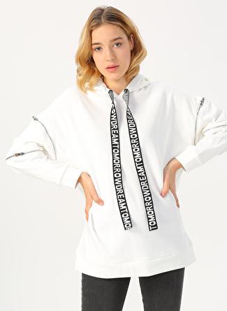 Twist Krem Fermuar Detaylı Sweatshirt