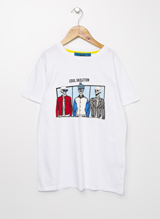 Funky Rocks Erkek Çocuk Baskılı Beyaz T-Shirt