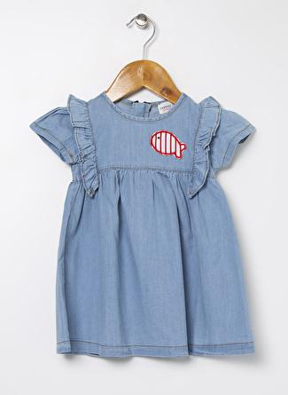 Mammaramma Kız Bebek Düz İndigo Elbise