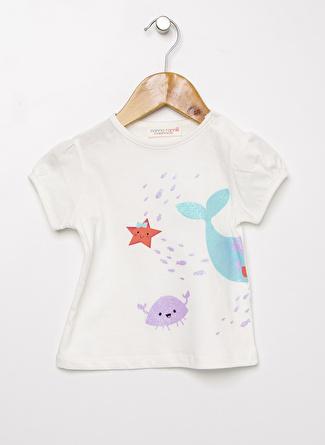 Mammaramma Kız Bebek Baskılı Beyaz T-Shirt