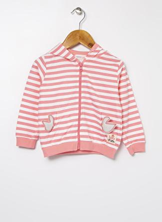 Mammaramma Kız Bebek Çizgili Pembe - Beyaz Kapüşonlu Fermuarlı Sweatshirt