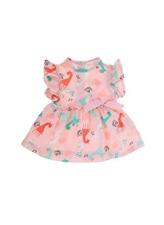 Mammaramma Kız Bebek Desenli Pembe Elbise