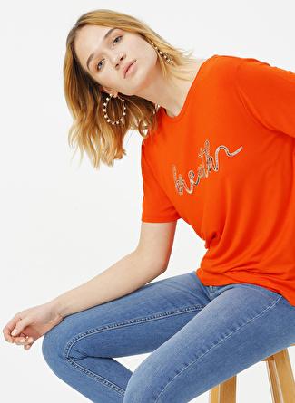 Fabrika Comfort Turuncu Baskılı T-Shirt