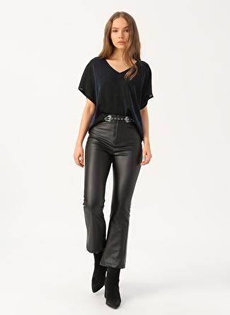Quzu Suni Deri Siyah Kadın Pantolon