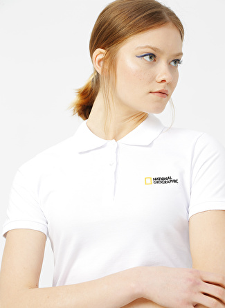 National Geographic Beyaz Polo T-Shirt