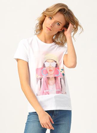 Only Baskılı Beyaz T-Shirt