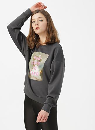 Only Antrasit Baskılı Sweatshirt