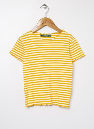 Limon Company Kız Çocuk Çizgili Kaşkorse Sarı T-Shirt