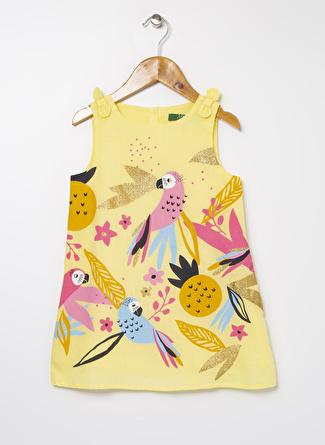 Limon Company Kız Çocuk Desenli Açık Sarı Elbise
